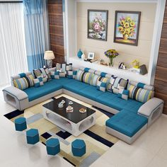 Living Room Sofa Design, Living Room Grey, Living Room Sets, Bedroom Sets, Tufted Sectional, Modern Sectional, Blue Sectional, Modern Sofa Designs, Blue Cushions