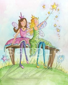 Art for Kids Fairy Friends 8x10 print by bealoo on Etsy, $15.00