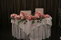 メインテーブル装花 ピンク系