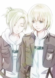 Armin Arlert & Annie Leonhardt. So very close to shipping this, not even gonna lie. (Attack on Titan)