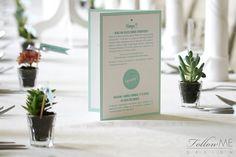 Winietki chorągiewki / Karta menu / Miętowe dekoracje ślubne od FollowMe DESIGN / Wedding Place Card Flags / Menu / Mint Wedding Decorations & Details by FollowMe DESIGN