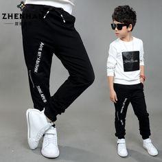 El muchacho letras apretados pantalones de pie nueva primavera de 2016 niños de los niños forman a ocio ropa bebé de algodón cuhk pantalones(China (Mainland))