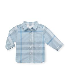 Check Long-Sleeve Shirt, Light Blue, 12 Months by Burberry at Neiman Marcus. Newborn Outfits, Boy Outfits, Casual Outfits, Men Casual, Neiman Marcus, Burberry, Baby Kids Clothes, Maternity Wear, Baby Design