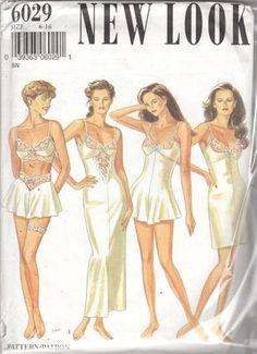New Look 6029 Misses LINGERIE Pattern Slip Bra Top Teddy French Knickers Garter Womens Vintage Sewing Pattern Size 6 - 16 Bust 30 - 38 UNCUT