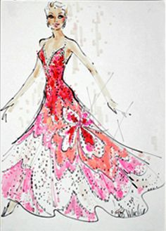Bob Mackie costume sketch for Mitzi Gaynor Clothing Sketches, Dress Sketches, Theatre Costumes, Movie Costumes, Fashion Illustration Vintage, Fashion Illustrations, Fashion Line, Fashion Art, Fashion Design