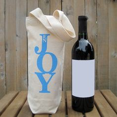 SALE  Recycled Cotton Canvas Wine Bag  Enjoy by Towne9 on Etsy, $8.00