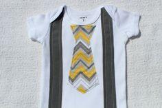 Baby Boy Onesie-Tie Suspender Onesie-Yellow Gray Chevron -Baby Boy Shower Gift - Take Home Outfit