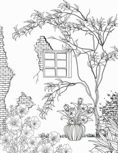 Ideas For House Tree Drawing Wall Art Adult Coloring Book Pages, Free Printable Coloring Pages, Colouring Pages, Coloring Sheets, Coloring Books, Doodle Art, Easy Drawings, Embroidery Patterns, Prints