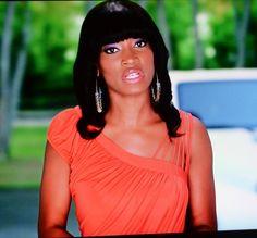 "Erica Dixon's Orange Asymmetrical Drape Top on ""Love & Hip Hop Atlanta"" | Reality TV Fashion & Style | Basketball Wives, Real Housewives of Atlanta, Love & Hip Hop, & More"