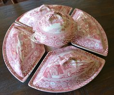 RARE Red Transferware HUGE Canterbury Supper Set with Tureen and Four