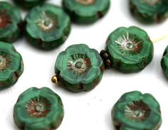 12mm Malachite Green Pansy Flower bead, Picasso finish Daisy czech glass flat bead - 6Pc - 1256 by MayaHoney on Etsy