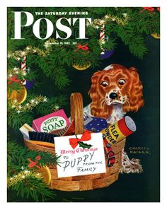 Doggy Basket, Saturday Evening Post Cover, December 19, 1942 by Charles Kaiser