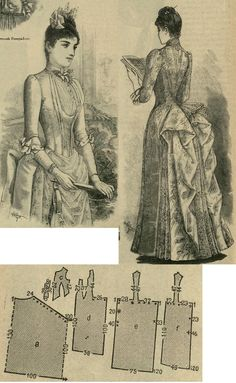 Tygodnik Mód 1888.: Evening gown from light pink satin or damask with lace drapery.