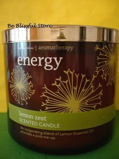 Bath & Body Works Aromatherapy Lemon Zest 3 Wick Candle 65 hr