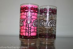 2 Stained Glass Coca Cola Glasses Collectible and Fun Vintage | eBay