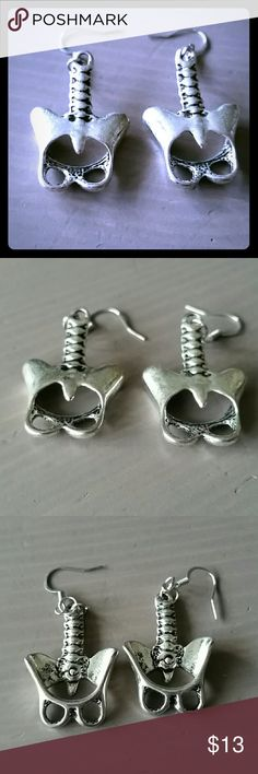 Creepy Cute Backbone earrings Great for horror fans like me. Silver, hang about 2 inches Grave Rave Jewelry Earrings