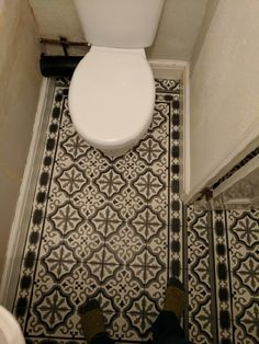 Newly tiled cloakroom. Fired Earth Waverley Abbey Victorian style tiles. Downstairs toilet.