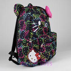 35b2bb39b8 Sanrio Hello Kitty Neon Print Backpack - 3D Bow 16