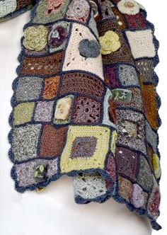 Sophie Digard Crochet Scarf-- Cute way to use scraps up,, want to make more into a blanket.