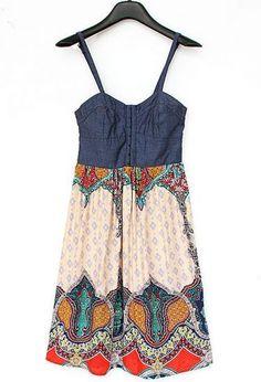Beige Contrast Denim Spaghetti Strap Floral Dress - Sheinside.com Mobile Site