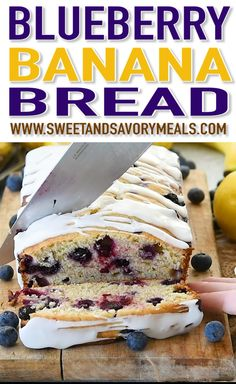 Blueberry Banana Bread is one of the best recipes to make with very ripe bananas. The bread is fluffy, tender, and bursting with juicy blueberries flavor. Blueberry Banana Bread, Paleo Banana Bread, Blueberry Recipes, Banana Bread Recipes, Cake Recipes, Dessert Recipes, Banana Bread With Blueberries, Banana Recipes Videos, Dessert Bread