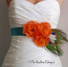 Teal and Orange Peacock Bridal Sash - BAYLEE - Teal and Orange Peacock Sash. $99.00, via Etsy.