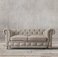 RH's Petite Kensington Upholstered Sofa:A masterful reproduction by Timothy Oulton of the classic Chesterfield style, our sofa evokes the grand gentlemen's club tradition. Our petite size collections are perfectly proportioned for smaller spaces.