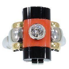 Blood Coral Ring Black Onyx Diamond Art Deco by adinantiquejewellery
