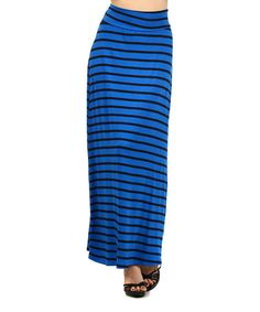 Look what I found on #zulily! Blue & Black Stripe Maxi Skirt by J-MODE #zulilyfinds