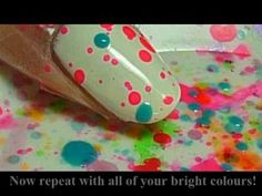 Fun and Easy Splatter Party Nails ♥♥ Love Nails, How To Do Nails, Fun Nails, Pretty Nails, Easy Nails, Simple Nails, Splatter Paint Nails, Splatter Art, Nail Art Videos