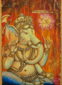 Ganesha by Yuliya Glavnaya Shri Ganesh, Ganesha Art, Lord Ganesha, Indian Gods, Indian Art, Caricatures, Wicca, Om Gam Ganapataye Namaha, Modern Painting
