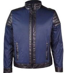 Calvin Klein Mens Mixed Media Faux Leather Zip Front Jacket Navy S #CalvinKlein #BasicJacket