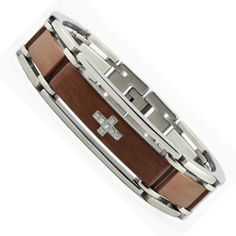 "Two Tone Brown Stainless Steel Bracelet with CZ Cross Design 8.5"" Bonndorf. $29.99. Save 82%!"
