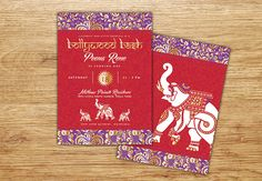 Indian Bollywood Invitation Bollywood Gold Middle by P27Creative