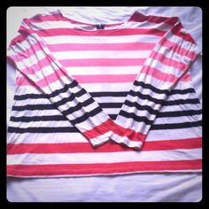Pink, red, & black striped shirt. ❤️this shirt! Loose, boxy shape, long sleeves as stripes! Has the added detail of te hook and eye closures on the back. So ute, just a piece on my closet that I never wore. LOFT Tops