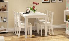 Conjunto para Sala de Jantar com Mesa e 4 Cadeiras Branco - Caaza