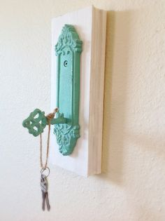 Hey, I found this really awesome Etsy listing at https://www.etsy.com/listing/176574533/key-holder-teal-reclaimed-wood-key-hook