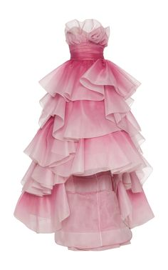 Tiered-Ruffle Strapless Tulle Gown by Marchesa Mermaid Dresses, Prom Dresses, Formal Dresses, Chiffon Dresses, Pageant Gowns, Bridesmaid Gowns, Club Dresses, Fall Dresses, Long Dresses