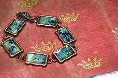 Up in the Summer Sky Origami Bracelet Copper Altered Art Blues Gold  | shadesongs - Jewelry on ArtFire