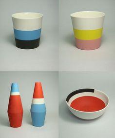 bold graphic striped ceramics by Japanese artist takuro kuwata