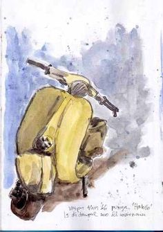 Old vespa sketch Vespa, Some Fun, Workshop, Watercolor, Wheels, Sketch, Painting, Illustrations, Art