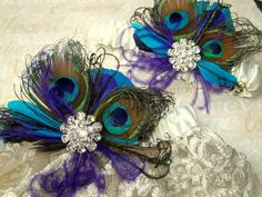 Purple Teal, Green And Purple, Green Lace, Blue Lace, White Lace, Bridal Lace, Bridal Garters, Blue Bridal, Peacock Theme