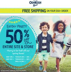 Pinned March 23rd: 50% off everything at Osh#Kosh Bgosh ditto online #coupon via The #Coupons App