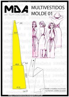 Grande sacada fazer roupas multifuncionais, que se transformam em outras peças. Um vestido , por exemplo, pode se transformar em um vários outros. Este molde mostra bem a versatilidade das roupas.  ww