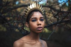 Golden Blade Hand Sewn Crown - Headpiece - by Loschy Designs Copper Blonde, Short Afro, Spiral Curls, Digital Art Girl, Wig Styles, Ice Queen, Curled Hairstyles, Burning Man, Black Girl Magic