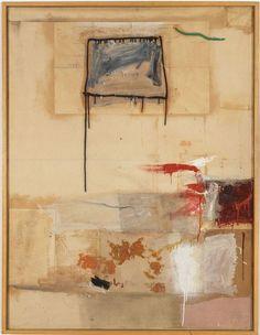Robert Rauschenberg - 1957, Memorandum of Bids. Combine: oil, pencil, paper, printed paper, and fabric on canvas (149.9 x 113 cm)