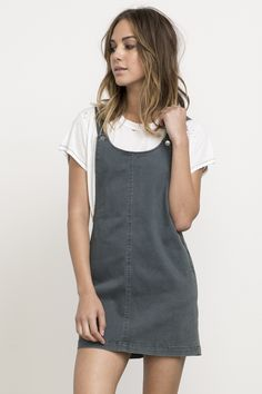 Oxley Overall Denim Jumper Dress | RVCA
