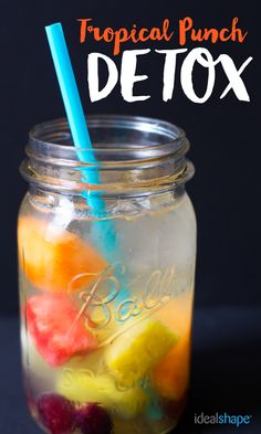 Turn your IdealBoost weight loss drink into the perfect tropical Detox!  Mix Tropical Punch IdealBoost with 16 oz. of water. Add 1 cup of desired tropical fruit. I added pineapple, watermelon, mango, cantaloupe, grapes and mint leaves. I think it would also be fun to add oranges, pomegranate, or passion fruit. Finally, add ice for a delicious, chilled detox water!