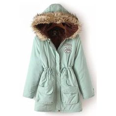Chic Women's Long Sleeve Fur Collar Hooded Lace-Up Coat