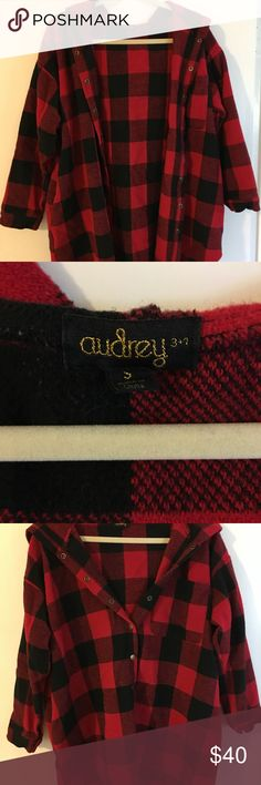 Audrey 3+1 checkered button up sweater Red and black checkered sweater with no stains or nicks Audrey 3+1 Sweaters